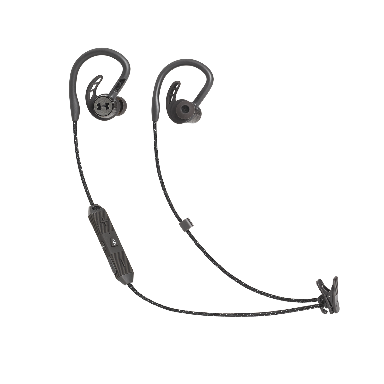 UA Sport Wireless PIVOT - Black - Secure-fitting wireless sport earphones with JBL technology and sound - Hero