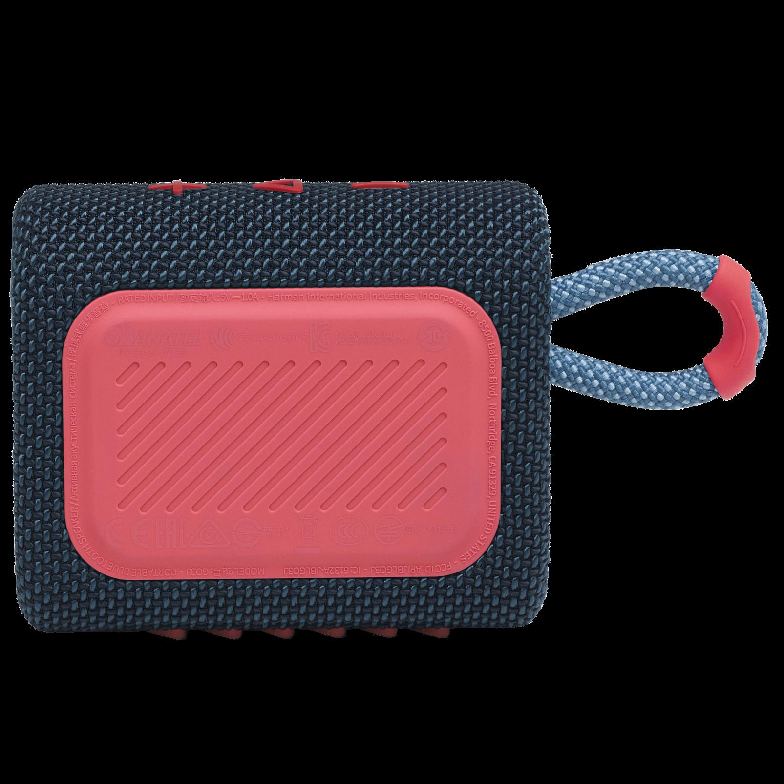 JBL Go 3 - Blue / Pink - Portable Waterproof Speaker - Back